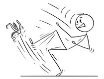 Kreskówka mężczyzna lub biznesmen Wśliznie na Bananowej łupie ilustracji