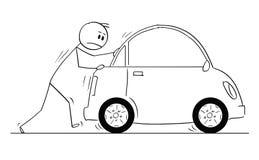 Kreskówka mężczyzna lub biznesmena dosunięcie Łamający samochód ilustracja wektor