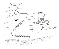 Kreskówka mężczyzna mienia dopłynięcia pierścionek i bieg Na plaży Zdala od Gigantycznego rekinu lub ryba Obrazy Stock