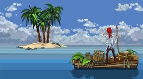 Kreskówka mężczyzna pływa na łodzi z skarbami morzem za wyspą ilustracja wektor