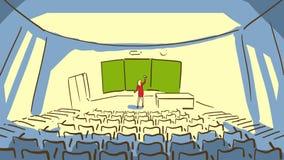 Kreskówka mężczyzna Siedzi Przy biurkiem I działaniem Na LaptopCartoon kobiecie Blisko okno Z Eyeglasses Wyciera Blackboard W Emp Zdjęcie Royalty Free