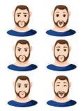 Kreskówka mężczyzna twarze pokazuje różną emocja mężczyzna emoci emoji ikonę ustawiającą dla wnętrze Płaskiego projekta projektuj ilustracja wektor