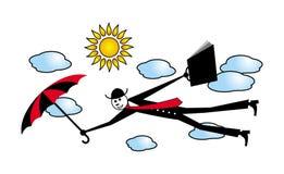 Kreskówka mężczyzna w czarnym kostiumu z parasolem i teczką lata wśród chmur Metafora przyrost i osiągnięcia H ilustracja wektor