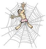 Kreskówka mężczyzna w pająk sieci. Obrazy Stock