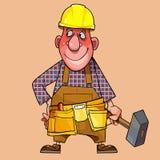 Kreskówka męski pracownik w hełmie z młotem w jego ręce royalty ilustracja