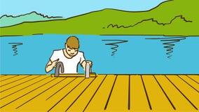Kreskówka młody człowiek Na Drewnianym molu Koloru wektorowy nakreślenie kwiaty sztuki magazynki ilustracji drzewo Zdjęcie Royalty Free
