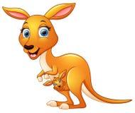 Kreskówka macierzysty kangur i jej dziecko royalty ilustracja