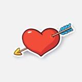 Kreskówka majcheru serce z strzała Zdjęcia Stock