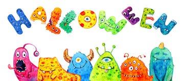 Kreskówka mali potwory z tytułowego ` Halloweenowy ` Ręka rysująca akwareli ilustracja ilustracja wektor