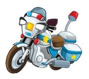 Kreskówka milicyjny motocykl na białym tle - ilustracji