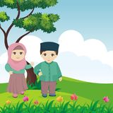 Kreskówka muzułmanin - islamscy dzieciaki z krajobrazem zdjęcie royalty free