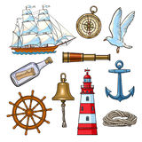 Kreskówka nautyczni elementy, wektorowa ilustracja ilustracja wektor