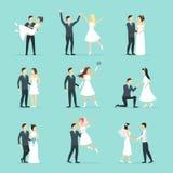 Kreskówka nowożeńcy ludzie Pozuje set wektor Obrazy Stock