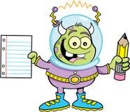 Kreskówka obcy trzyma ołówek i papier ilustracji