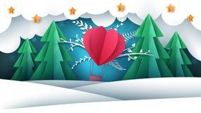 Kreskówka papieru krajobraz Lotniczy balon, jodła, zima ilustracji