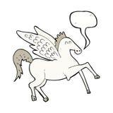 kreskówka Pegasus z mowa bąblem Obrazy Royalty Free