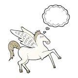 kreskówka Pegasus z myśl bąblem Zdjęcia Stock