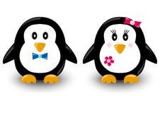Kreskówka pingwiny, chłopiec i dziewczyna, wektor ilustracji