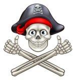 Kreskówka pirata Crossbones i czaszka Fotografia Royalty Free