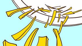 Kreskówka plasterki Kraciasty serowy spada puszek od talerza Obrazy Stock