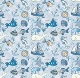 Kreskówka pociągany ręcznie bezszwowy podwodny wzór z ryba Zdjęcia Royalty Free