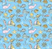 Kreskówka pociągany ręcznie bezszwowy podwodny wzór z ryba, whal Fotografia Royalty Free