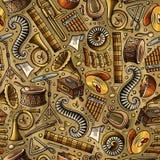 Kreskówka pociągany ręcznie Klasyczny muzyczny bezszwowy wzór Obrazy Stock