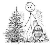 Kreskówka Podnosi Eatable pieczarki w lesie mężczyzna Obraz Stock
