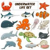 Kreskówka podwodni zwierzęta ustawiający wektor Fotografia Royalty Free