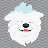 Kreskówka portret biały pies z śniegiem na jego głowie Szczęśliwa psia głowa symbolu nowy rok Wektorowa ilustracja dla royalty ilustracja