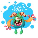 Kreskówka potwora charaktery Cześć, heello ilustracja ilustracji