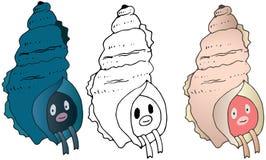Kreskówka potwora skorupy koloru ręki remisu doodle szczęśliwy śmieszny lato royalty ilustracja