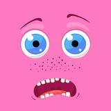 Kreskówka potwora twarz Wektorowy Halloween bajki różowy uśmiechnięty avatar również zwrócić corel ilustracji wektora Zdjęcie Royalty Free