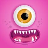 Kreskówka potwora twarz Wektorowy Halloween bajki różowy uśmiechnięty avatar również zwrócić corel ilustracji wektora Obraz Stock