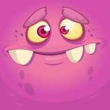 Kreskówka potwora twarz Wektorowy Halloween menchii potwora avatar Zdjęcie Stock