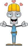 Kreskówka pracownika budowlanego robota uściśnięcie royalty ilustracja