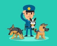 Kreskówka pracownika ochrony policjant z milicyjnymi strażowymi psami ilustracji
