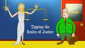 Kreskówka prawnika porady Ważą sprawiedliwość z monetą 2 numer wersji Dla przestępstwa & sprawiedliwości, prawo, sądy, więzienia, royalty ilustracja