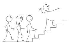 Kreskówka Prowadzi drużyny ludzie biznesu Na piętrze lider ilustracja wektor