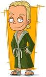 Kreskówka przystojny blond facet w bathrobe ilustracji