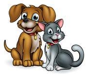 Kreskówka psa i kota zwierzęta domowe royalty ilustracja