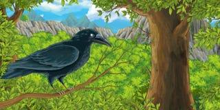Kreskówka ptak - gaworzy na gałąź w lesie royalty ilustracja
