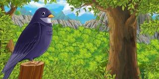 Kreskówka ptak na gałąź w lesie - royalty ilustracja