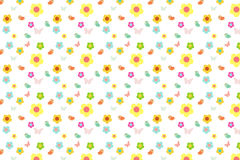 Kreskówka ptak z kolorowym cukierki i kwiat deseniujemy tło Obraz Stock