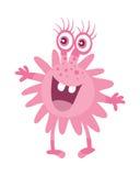 Kreskówka Różowy mikroorganizm Śmieszny Uśmiechnięty zarazek Fotografia Stock