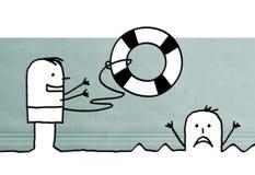 Kreskówka ratunek i ludzie ilustracja wektor