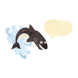 kreskówka rekin z mowa bąblem Zdjęcia Stock