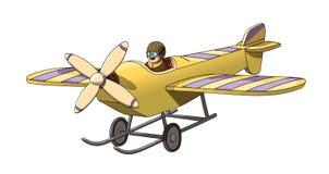Kreskówka rocznika Retro pilot w jego samolocie EPS-10 wektoru format Obrazy Stock