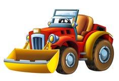 Kreskówka rolnego ciągnika ekskawator na białym tle - royalty ilustracja