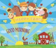 Kreskówka rolni sztandary Wiejski krajobraz z drewnianą stajnią, zielona trawa, wiatrowa pompa, kogut na płotowym i powstającym s ilustracja wektor
